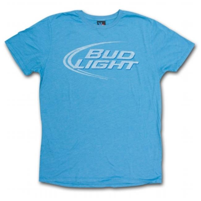 Bud Light 19718XXL Junk Food Faded Design Heather Blue Graphic T-Shirt, 2X-Large