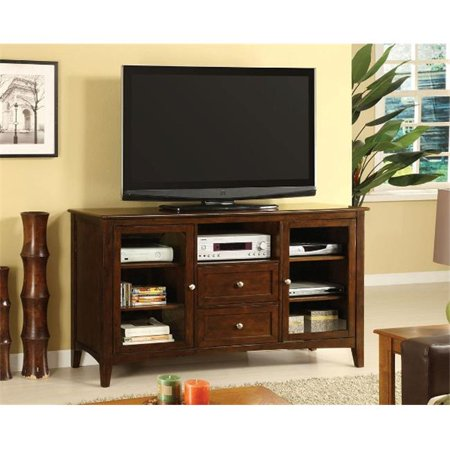 Furniture Of America IDF-5420-TV TV Console With Framed Glass Doors – Dark Walnut