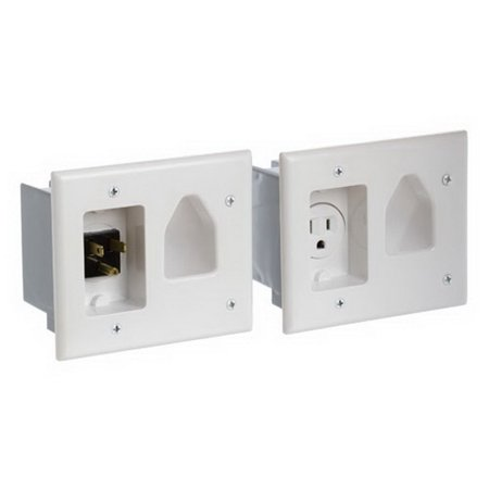 - Cmple 526-N Wall plate - Recessed Pro Power Kit w/Straight Blade Inlet White
