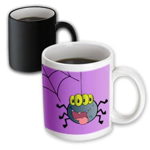 3dRose Cute Happy Spider and Web On Purple For Halloween Or Everyday Spider Lovers Insect Bug Cartoon, Magic Transforming Mug, 11oz