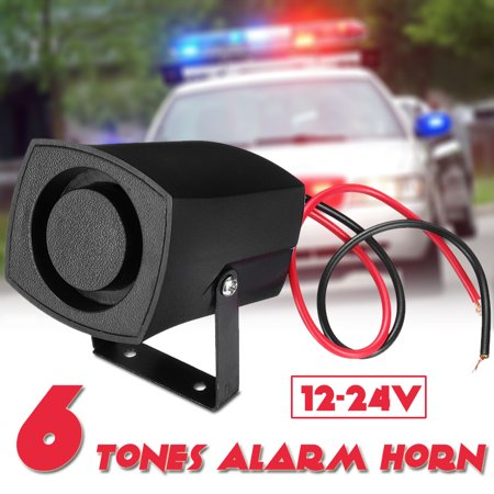 12-24V 6 Tones Horn Electric Warning Speaker Wired Alarm Black Sound Loud Siren Bell Ring Universal Emergency Security Protection System For Home & Outdoor Cars Trucks Buses ()