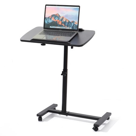 Adjustable Angle & Height Rolling Laptop Notebook Desk Stand Over Sofa Bed Table, Overbed Food Tray Table Stand w/Lockable Casters