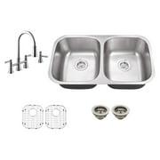 Schon SC967065 Double Basin Undermount Kitchen Sink Set