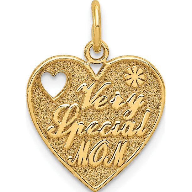 Designer 14K Yellow Gold Special Mom Charm (Length=20) (Width=14) Made In United States -Jewelry By Sweet Pea Creations