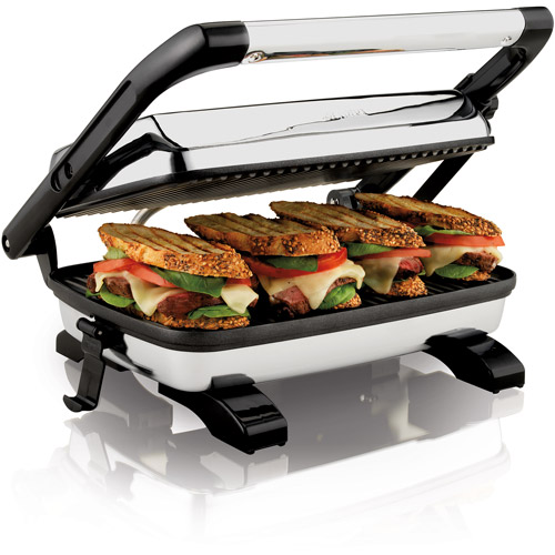 New Hamilton Beach 25450 Non Stick Panini Press Gourmet Grill Sandwich Maker
