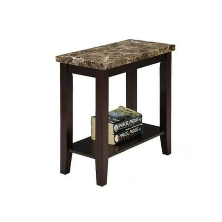 Traditional Dark Espresso with Marble Print Style Side/End Table, 24