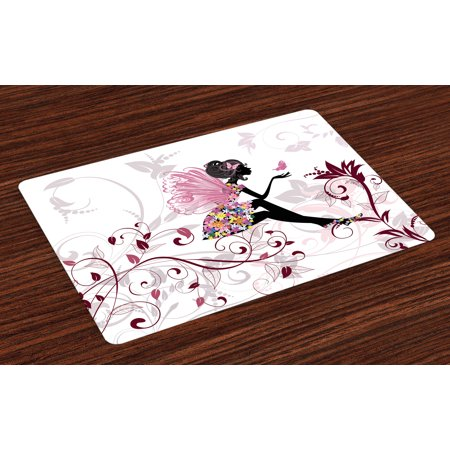 Princess Placemats Set of 4 Flower Fairy with Butterflies Wings Branches Ornaments Floral Spring Forest, Washable Fabric Place Mats for Dining Room Kitchen Table Decor,Maroon Black Pink, by Ambesonne - Fairy Wings To Decorate