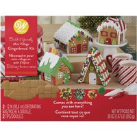 Wilton Build it Yourself Holiday Fun Gingerbread Mini Village Decorating Kit 4 Houses