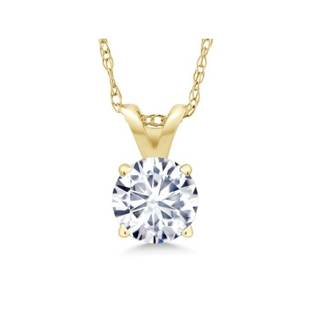 14K Yellow Gold Pendant Forever One GHI Round Created Moissanite 0.80ct DEW