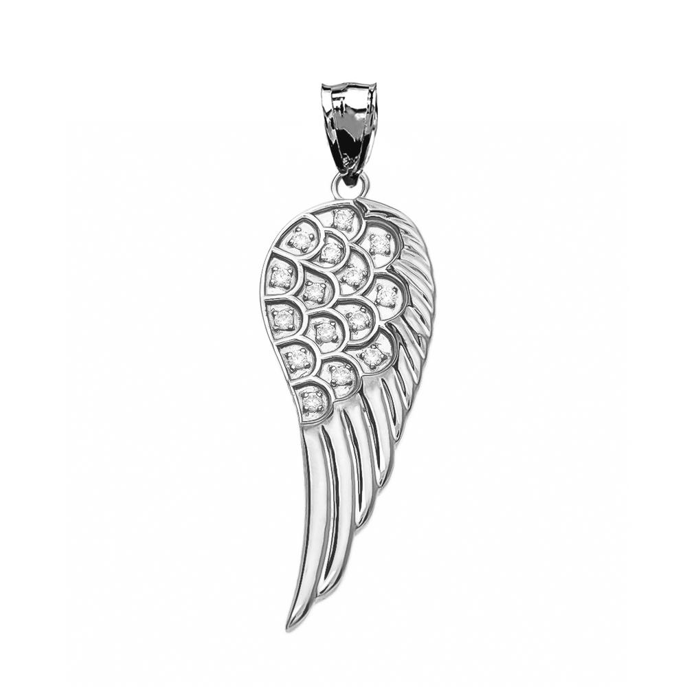 Fancy White Gold Diamond Angel Wing Pendant Necklace