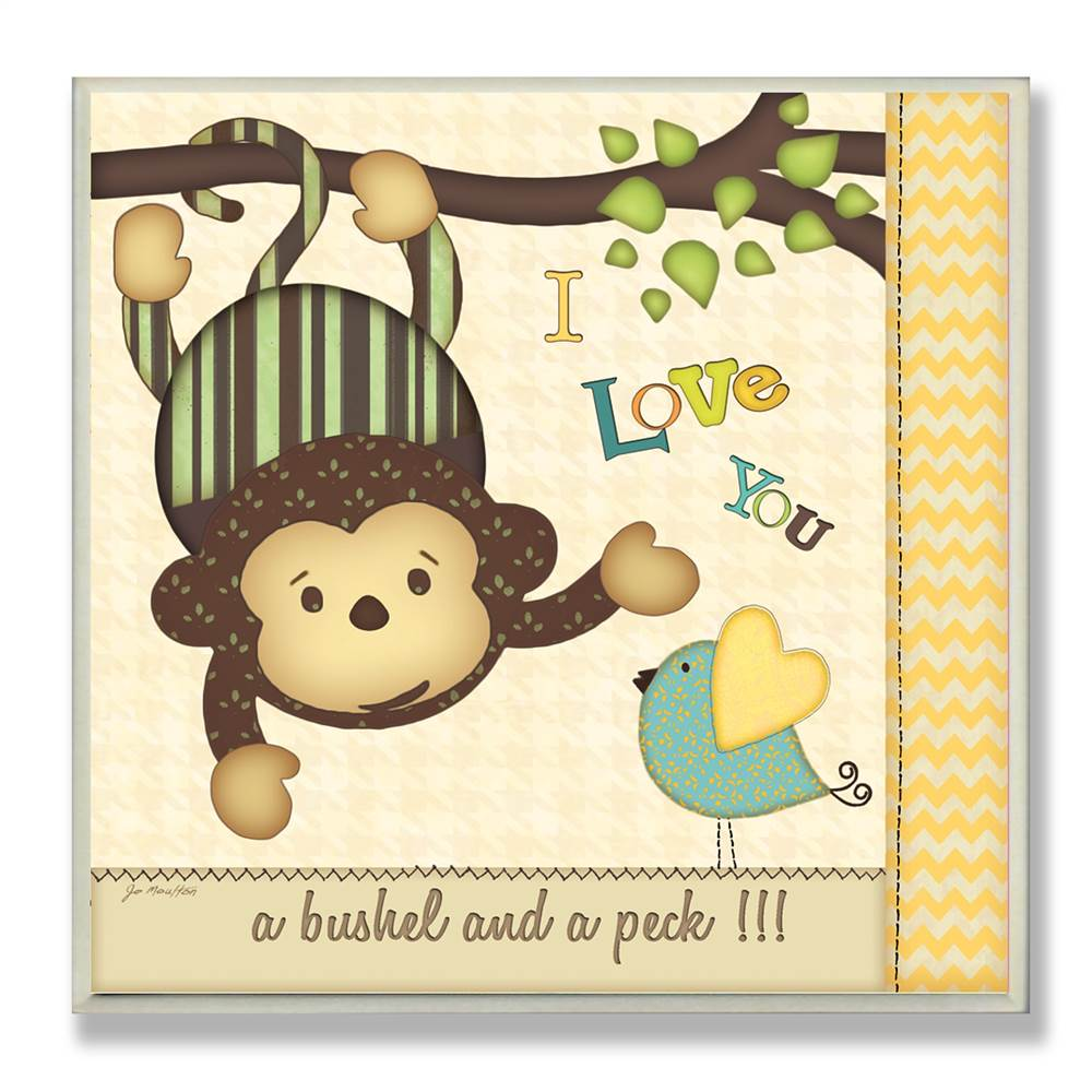 I Love You Monkey and Chickadee Square Wall Plaque