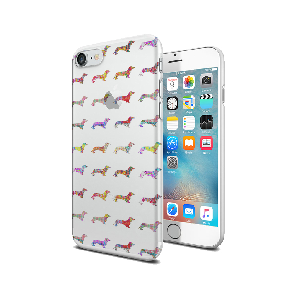KuzmarK iPhone 7 Clear Cover Case - Dachshund Dogs Pretty