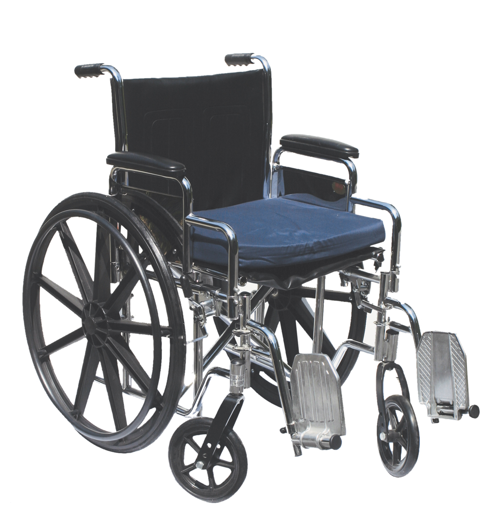 "Gel wheelchair cushion with removable cover, 16""x20""x2"" navy color"