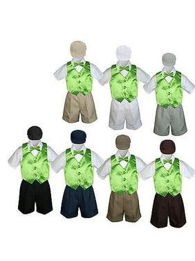 5pc Boy Toddler Formal Lime Green Vest Bow Tie Black Khaki Brown Hat Shorts S-4T