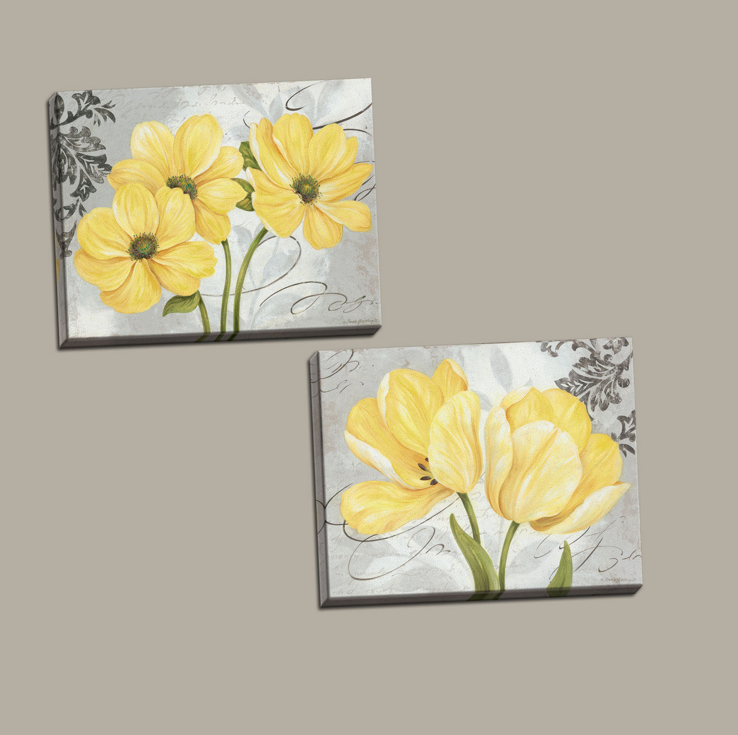 Beautiful Grey & Yellow Flower; Two 14X11in Stretched Canvases; Ready to hang!