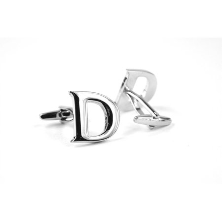 Moda Di Raza - Men's Personalized Silver Initial Cufflinks - Letter - Heart White Cufflinks