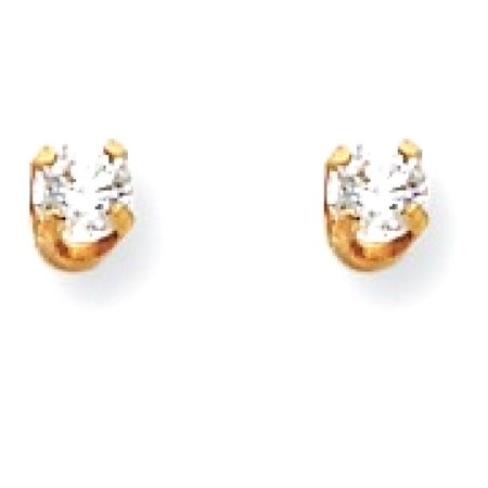 14kt Yellow Gold 3mm Cubic Zirconia Cz Long Post Stud Earrings Tool Ear Piercing Supply Fine Jewelry Ideal Gifts For Women Gift Set From Heart
