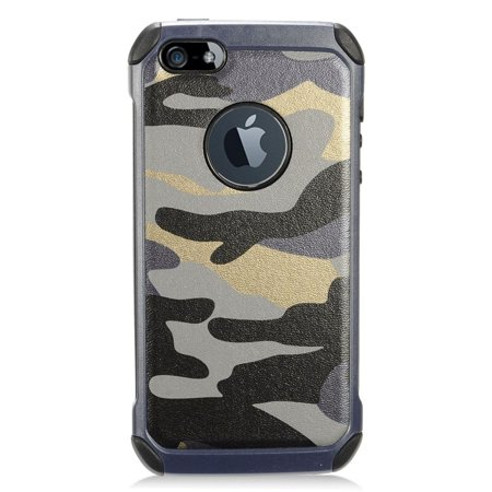 iPhone SE case, iPhone 5s case, by Insten Camouflage Dual Layer [Shock Absorbing] Hybrid Hard Plastic/Soft TPU Rubber Case Cover For Apple iPhone SE / iPhone 5S / iPhone 5/SE, Green/Black - image 4 de 4