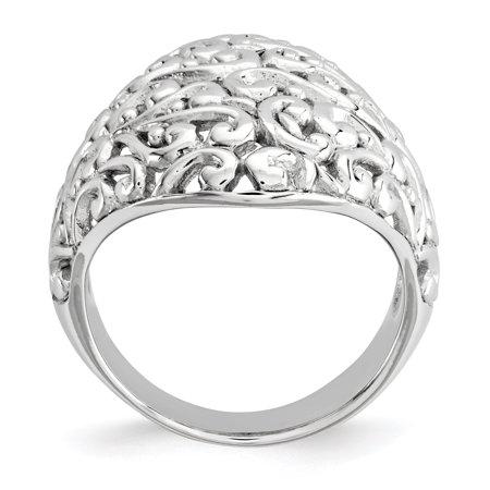 Sterling Silver Polished Filigree Ring Size 6 - image 2 de 3