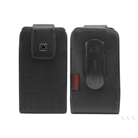 Cellet Black Teramo Case with Cellet Removable Spring Clip For HTC ONE X, Samsung Galaxy S4, and other similar sized