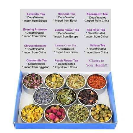 - Tea Sampler - Flower Tea - Decaffeinated - Herbal - Gift Box - Chrysanthemum - Mint - Linden Flower - Saffron - Hibiscus - Lavender - Chamomile - LemonGrass - Rose - Loose Leaf Tea