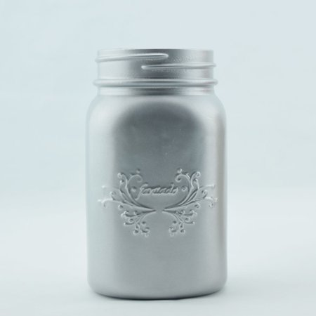 Fantado Wide Mouth Matte Silver Mason Jar w/ Handle, 32oz (Wide Mouth Thermal Container)