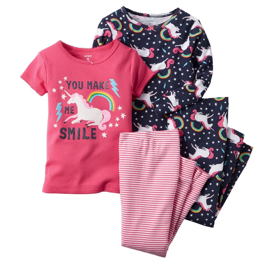 Carter/'s Toddler Girls Pajamas PJs 4-Piece Cotton Snug Unicorn Set