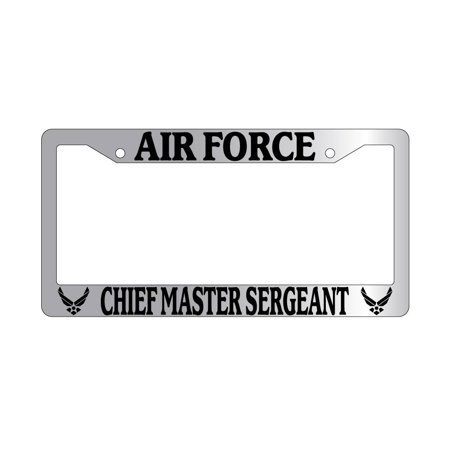 Chiefs Plastic License Plate - Air Force Chief Master Sergeant Chrome Plastic License Plate Frame