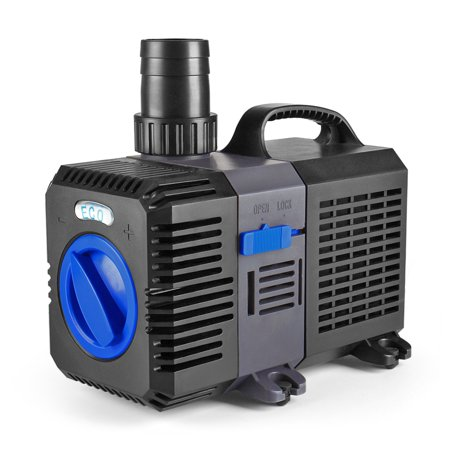 Pond Pump Submersible (1400GPH) Adjustable Flow Inline Aquarium Fountain Waterfall Koi Fish Salt Fresh Water Filter with Set of Outlet Adapter ()