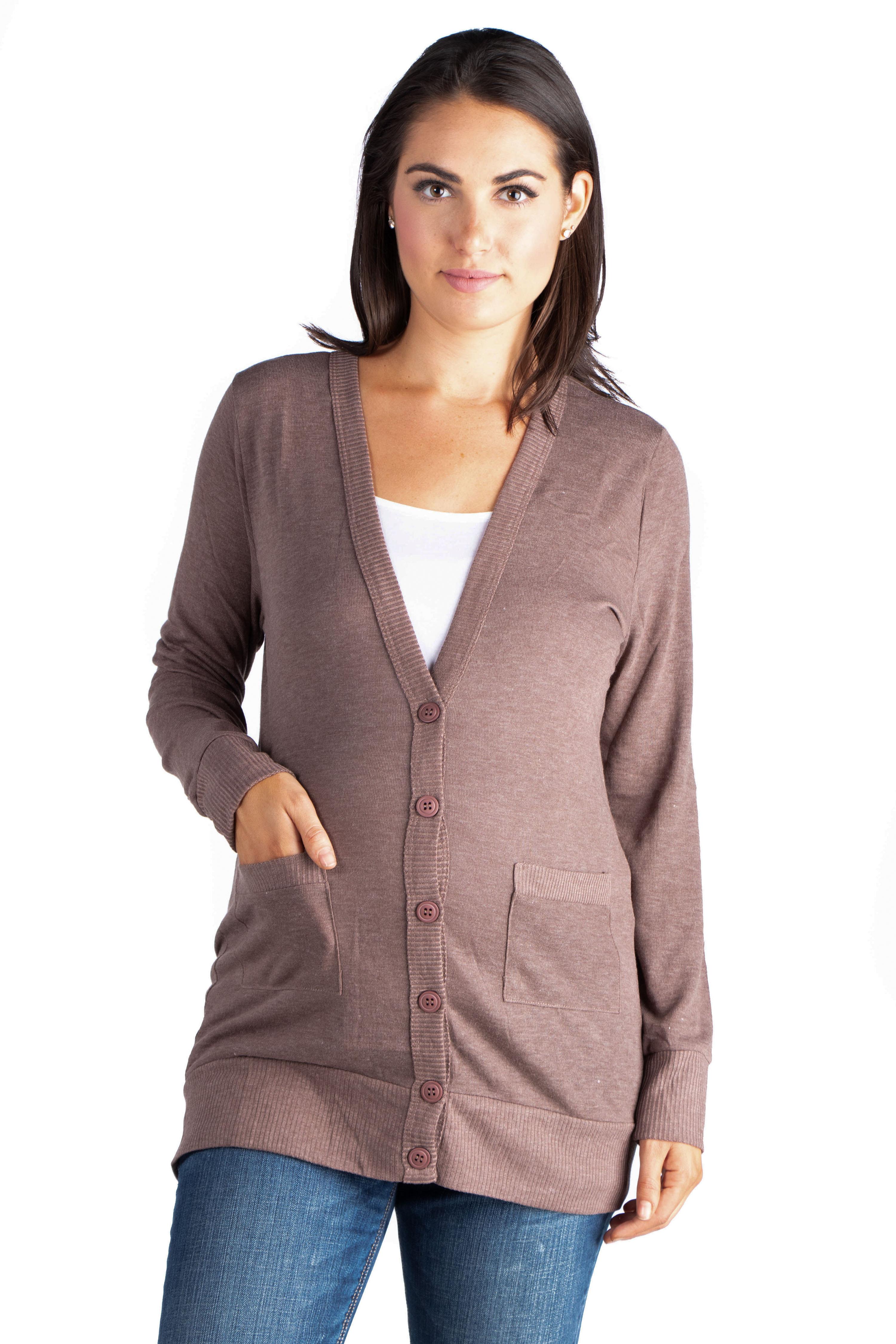 24seven Comfort Apparel Casual Comfort V-neck Maternity Pocket Cardigan