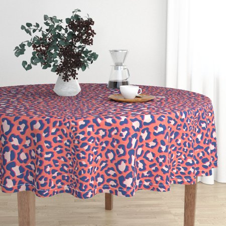 Round Tablecloth Animal Print Safari Cat Wild Jungle Cheetah Cotton Sateen