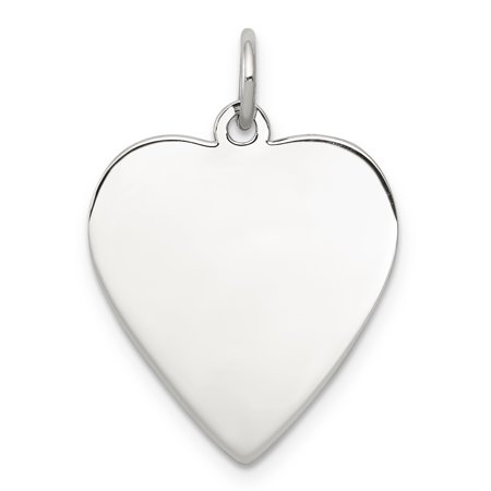 925 Sterling Silver Rhod Plated Eng. Heart Polish Front Back Disc Pendant Charm Necklace Engravable Simple Shaped Plain Fine Jewelry For Women Valentines Day Gifts For Her - image 6 de 6
