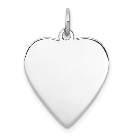 925 Sterling Silver Rh Plt Engraveable Heart Front Back Disc Pendant Charm Necklace Engravable Simple Shaped Plain Fine Jewelry For Women Gifts For Her - image 6 de 6