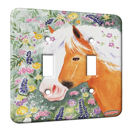 KuzmarK Double Gang Switch Wall Plate Palomino Welsh Pony with Welsh W