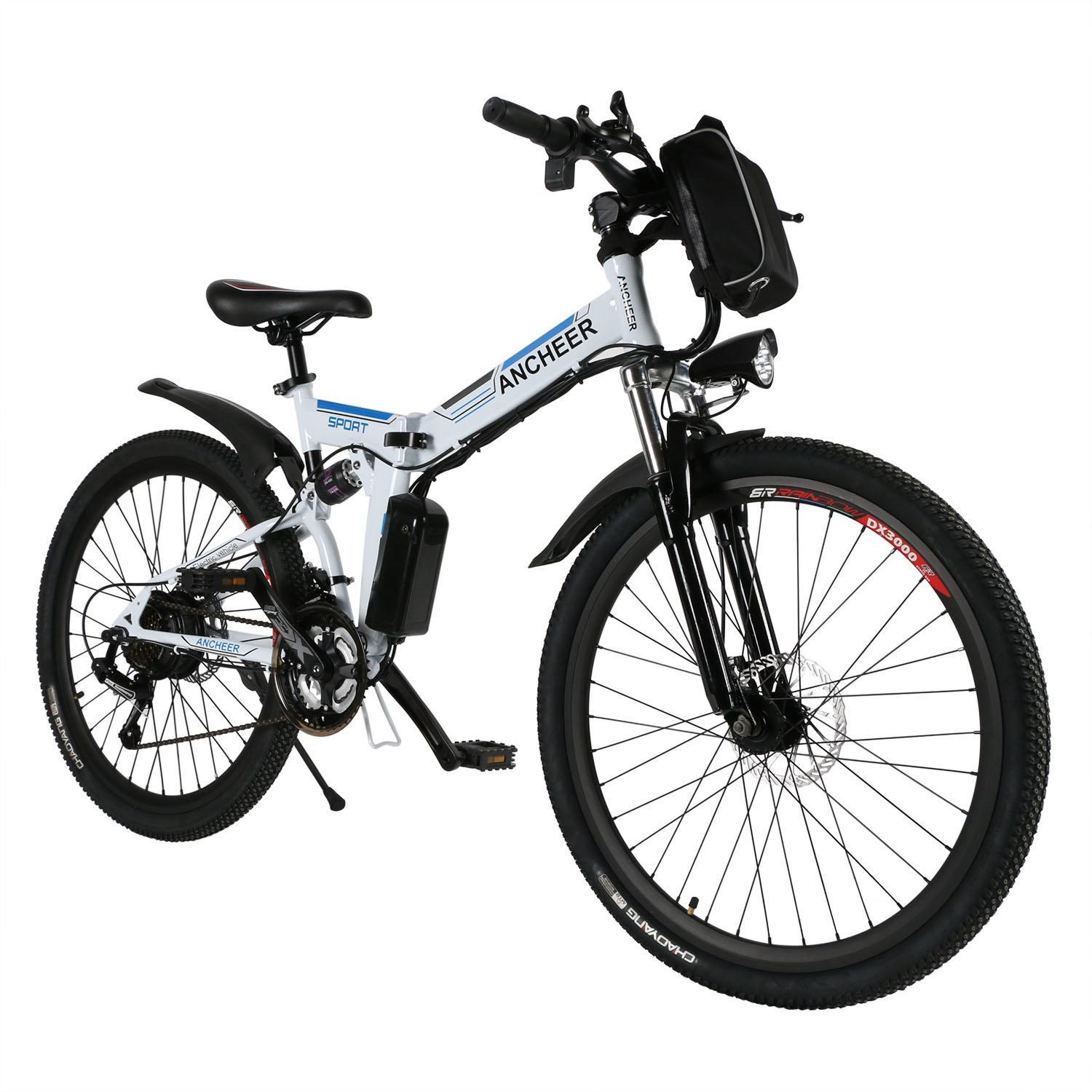 "ANCHEER E-bike 21"" Folding Electric Mountain Bike Power Plus Bicycle Damping with Lithium-Ion Battery  CEAER"