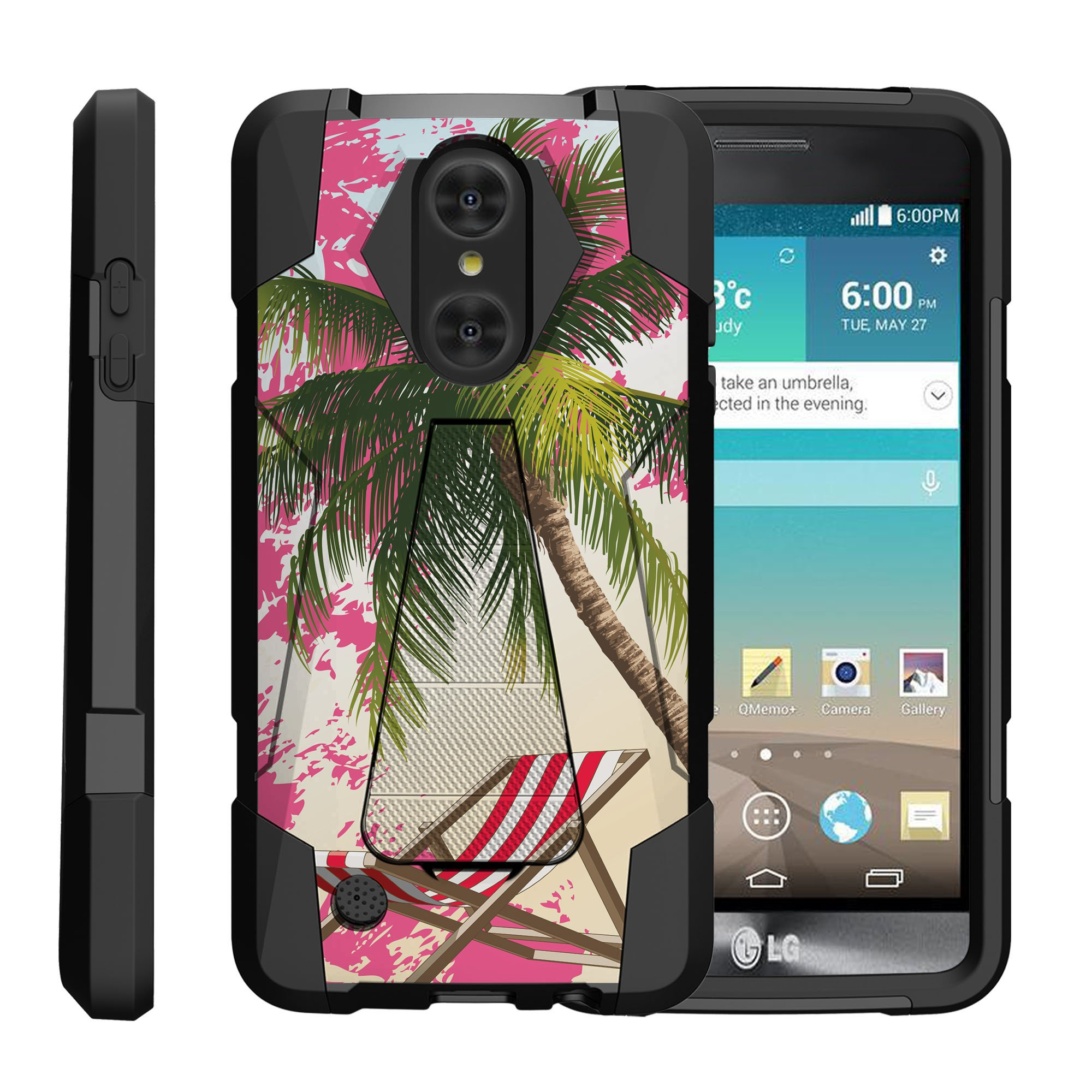 TurtleArmor ® | For LG LV3 | Aristo | K8 | Phoenix 3 M150 | Fortune M153 | Risio 2 | K4 | Rebel 2 [Dynamic Shell] Dual Layer Hybrid Silicone Hard Shell Kickstand Case - Tropical Beach