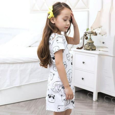 b56ca5ea9a8e Upgrade Baby Girls Short-sleeved T-shirt Dress with Lovely Cartoon ...