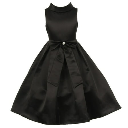 Girls Black Bridal Dull Satin Bow Rhinestone Flower Christmas Dress 8 - Girls Size 8 Christmas Dress