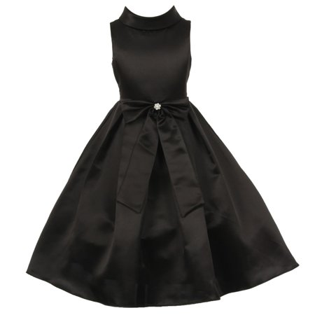 Boutique Christmas Dress (Girls Black Bridal Dull Satin Bow Rhinestone Flower Christmas Dress)