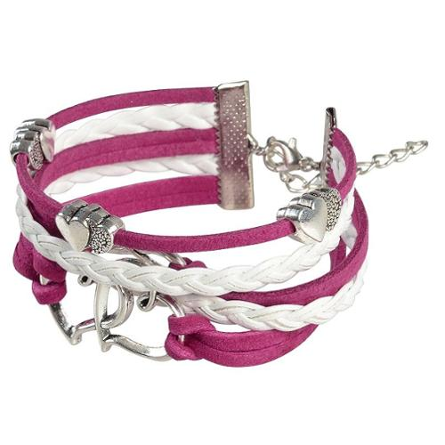 Zodaca 7 to 9 inch Adjustable Hot Pink White Braided Velvet and Leather Cord Bracelet with Silver Hearts Design