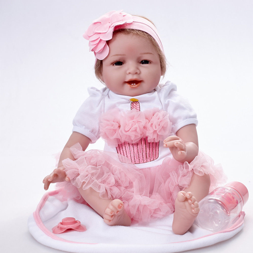 Reborn Baby Doll Soft Silicone Vinyl 22 inch Lovely Lifelike Cute Baby Boy Girl Toy Beautiful clothes doll 55 cm Hots