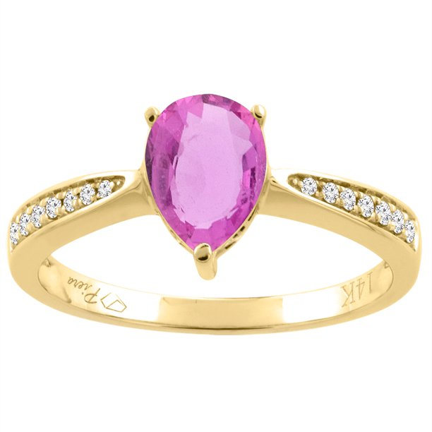 14K Yellow Gold Natural Pink Sapphire Ring Pear Shape 8x6 mm Diamond Accents, size 10