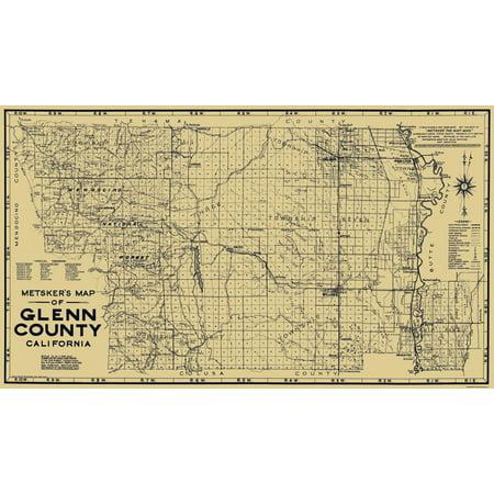 Glenn County California Map.Old County Map Glenn California Metsker 1936 40 X 23 Walmart Com