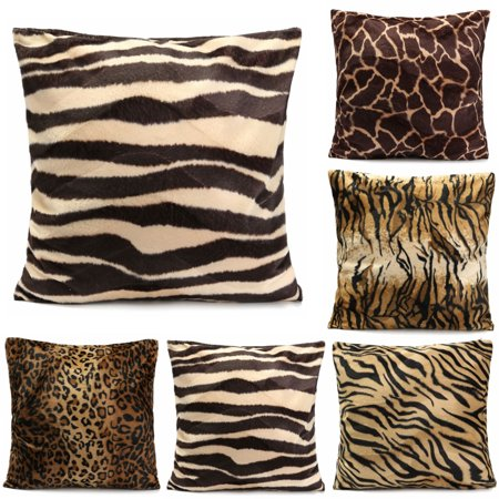 Animal Tracks Pillow Pack (Meigar Animal Multi-Pattern Faux Fur Decorative Throw Pillow Case Cushion Cover Clearance 18x18 inch Square Zipper Waist Pillowcase Pillow Protector Slip Cases Sham for Couch Sofa)