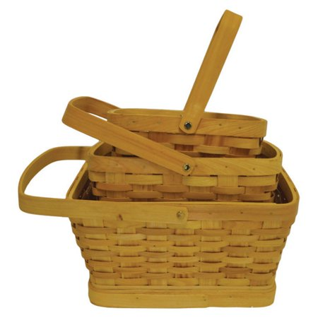 Craftware Rectangle Woodchip Nesting Baskets - Set of 3