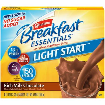 Carnation Breakfast Essentials Light Start Nutritional Drink Powder, Rich Milk Chocolate, 0.71 Oz Packets, 8 (Dunkin Donuts Box Of Joe Hot Chocolate)