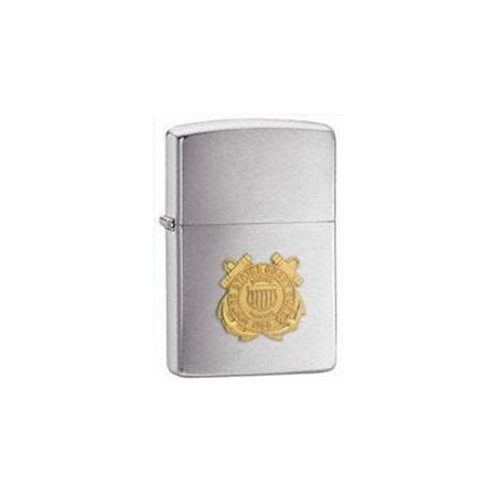 Zippo 280CG Windproof Brushed Chrome Coast Guard Emblem Lighter