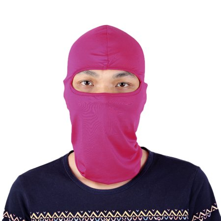 Motorcycle Cycling Bike Hiking Full Face Mask Neck Hood Balaclava Cap Fuchsia ()