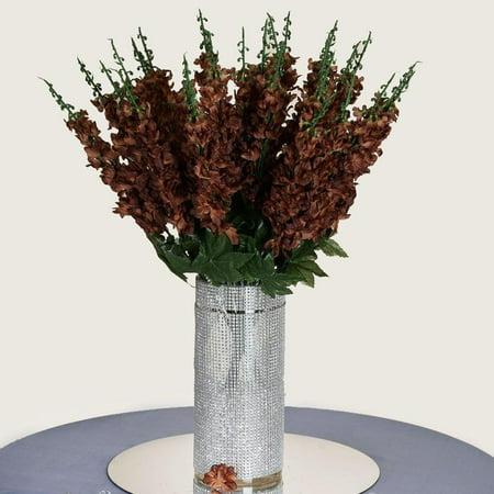 3 Artificial Delphinium Bushes Wedding Vase Centerpiece Decor - Chocolate