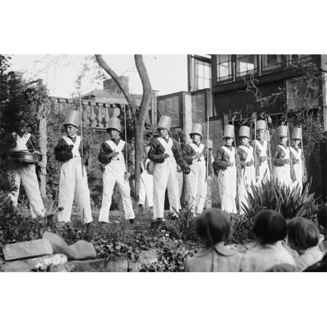 Buy Enlarge 0-587-46250-LP20x30 Line of Boys pose as Soldiers with inverted pails on their heads- Paper Size P20x30
